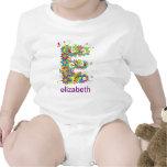 Floral Alphabet Name Baby Tee (Monogram E)