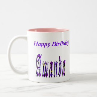 Floral Amanda Girls Name Logo, Two-Tone Coffee Mug