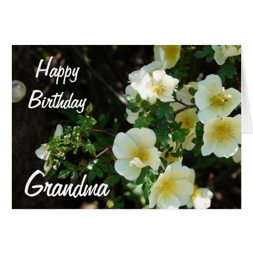 Floral amarillo Abuela-Cremoso del feliz cumpleaño Felicitaciones