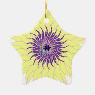Floral amarillo púrpura lavendar de la flor adorno de cerámica en forma de estrella