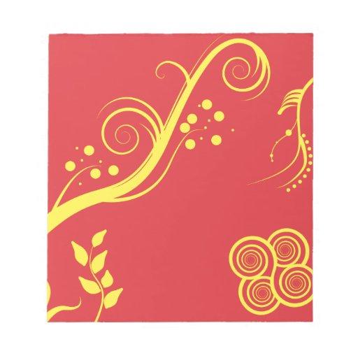 Floral amarillo y remolinos blocs de papel