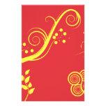 Floral amarillo y remolinos papeleria personalizada