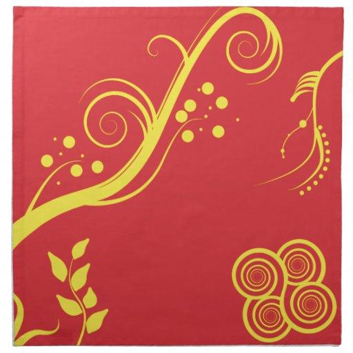 Floral amarillo y remolinos servilleta