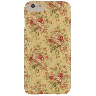 Floral amarillo y rosado del vintage funda para iPhone 6 plus barely there