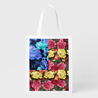 floral american flag,united states flag market tote