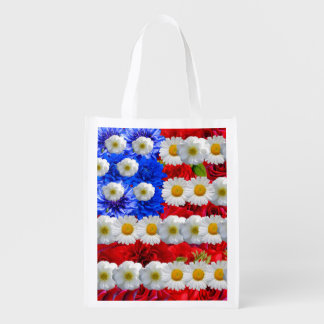 floral american flag,united states flag grocery bag