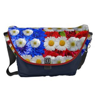 floral american flag,unites states messenger bag