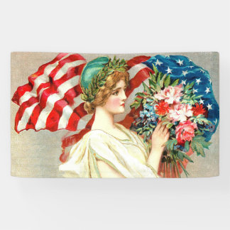 Floral American flag ,vintage style Banner