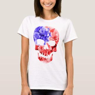 FLORAL AMERICAN SKULL,AMERICAN FLAG SKULL T-Shirt