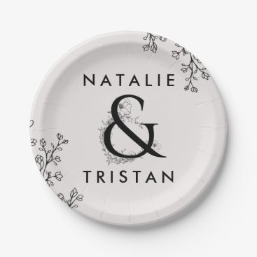 Bride Themed Floral Ampersand Wedding Cake Paper Plate