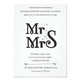 "Floral Ampersand Wedding Invitation 5"" X 7"" Invitation Card"