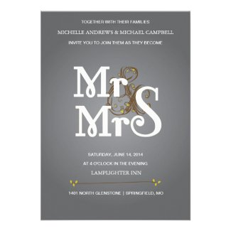 Floral Ampersand Wedding Invitation in Grey & Pur