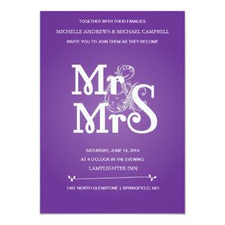 "Floral Ampersand Wedding Invitation in Grey & Pur 5"" X 7"" Invitation Card"