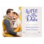 Floral Amperstand Save the Date Postcard in Navy