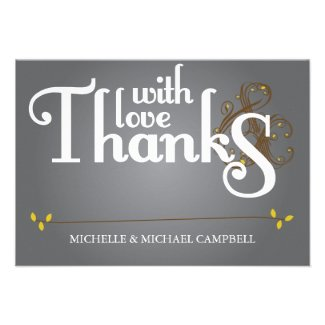 Floral Amperstand Thank You Card Grey & Yellow