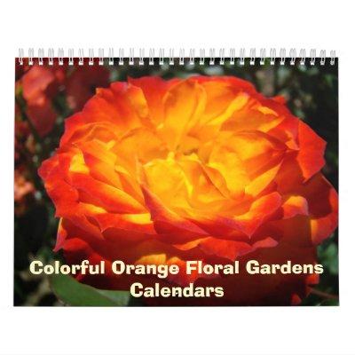 Floral anaranjado colorido del calendario de la fo