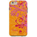 Floral anaranjado rosado personalizada funda de iPhone 6 plus tough