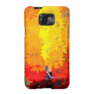 Floral anaranjado y amarillo galaxy SII carcasas