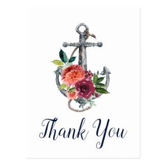 Floral Anchor | Autumn Thank You Postcard