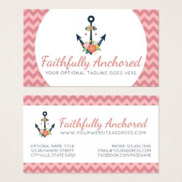 Beach Themed Floral Anchor Nautical Faith Navy & Coral Chevron Business Card