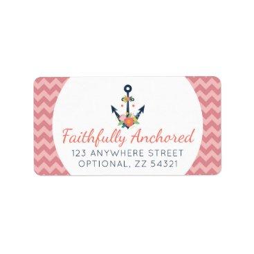Beach Themed Floral Anchor Nautical Faith Navy & Coral Chevron Label