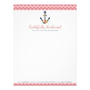 Beach Themed Floral Anchor Nautical Faith Navy & Coral Chevron Letterhead