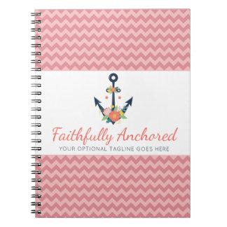 Floral Anchor Nautical Faith Navy & Coral Chevron Notebook