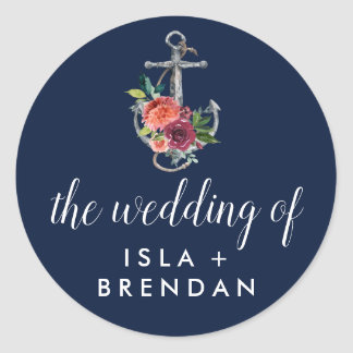 Floral Anchor Navy Autumn The Wedding Of Classic Round Sticker