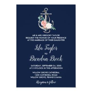 Floral Anchor | Navy Summer Formal Wedding Invitation