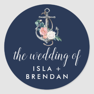 Floral Anchor Navy Summer The Wedding Of Classic Round Sticker