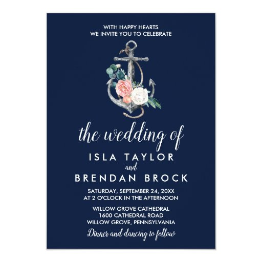 Floral Anchor Navy Summer The Wedding Of Invitation