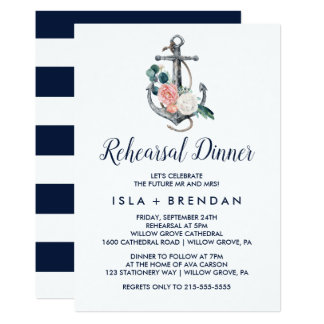 Floral Anchor | Summer Rehearsal Dinner Invitation