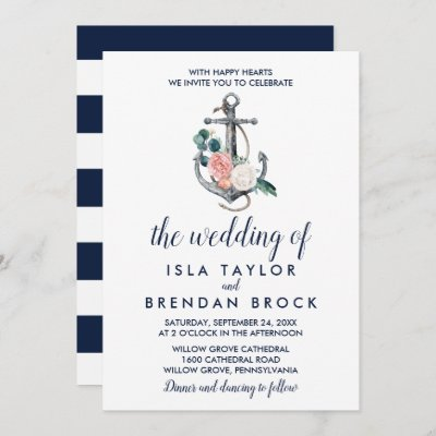 Floral Anchor   Summer The Wedding Of Invitation