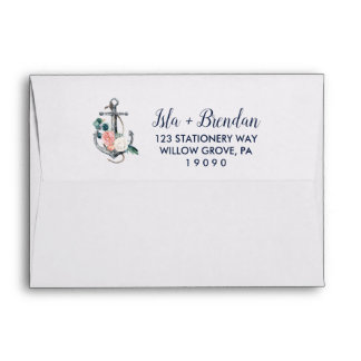 Floral Anchor | Summer Wedding Invitation Envelope