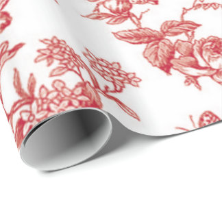 Floral and Birds Toile Wrapping Paper