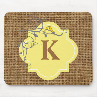 Floral and burlap monogrammed mouse pad