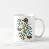 floral, flower, butterfly, nature, illustration, cute, pop, design, art, retro, vintage, plant, leaf, funny, graphic, green, blue, flora, plants, Caneca com design gráfico personalizado
