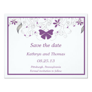 Floral and butterfly Save The Date Card