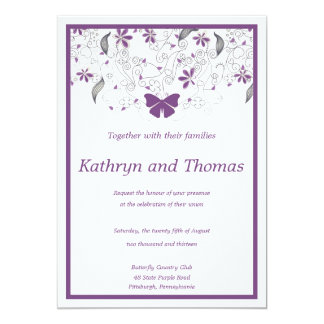 Floral and butterfly wedding invitation