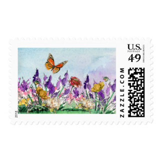 Floral and Butterfly Wedding Stamp