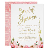 Floral and champagne bridal shower invitation