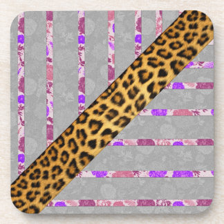 Floral and Cheetah Print Stripes Beverage Coaster