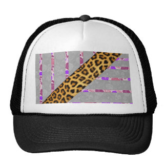 Floral and Cheetah Print Stripes Trucker Hat