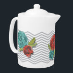 """Floral and Chevron Pattern Teapot<br><div class=""""desc"""">Floral and chevron pattern teapot featuring an original surface pattern design by WRKDesigns.</div>"""