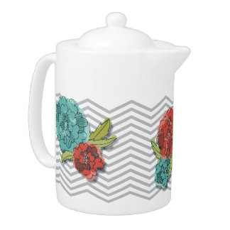 Floral and Chevron Pattern Teapot