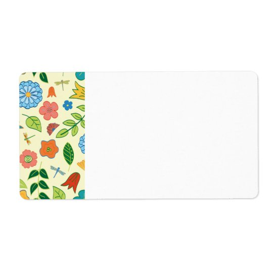 Floral and Dragonfly Patterned Label
