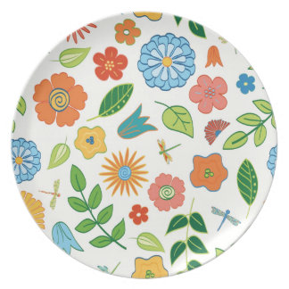 Floral and Dragonfly Patterned Dinner Plate
