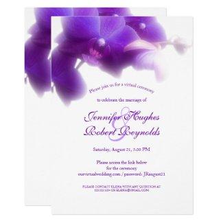 Floral and Elegant Purple Orchid Virtual Wedding Invitation