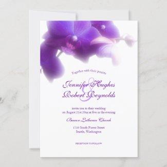 Floral and Elegant Purple Orchid Wedding Invitation