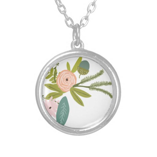 Floral and Fauna Round Pendant Necklace